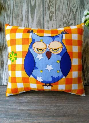 Подушка голубая сова 2, 31 см * 29 см1 фото