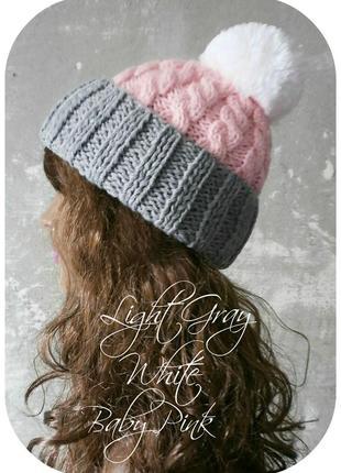 Любая расцветка! хлопковая шапка с отворотом/косы/нежно-розовый, светло-серый, белый