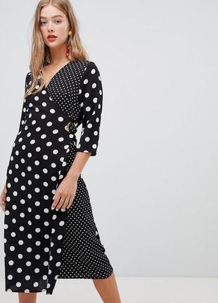Комбинированое миди платье на запах в горошек