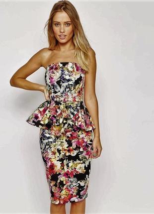 Фирменное коттоновое платье бюстье футляр с баской в цветочный принт new  look s- ... d41880901918c