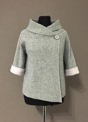Шерстяной пиджак, жакет, пончо, натуральная шерсть, chiaramente, италия, m-l