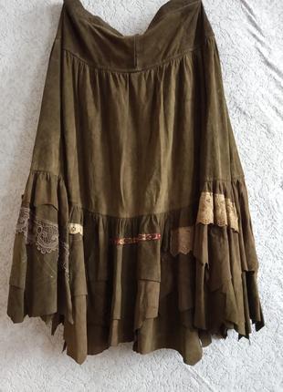 Натуральный замш эксклюзив юбка