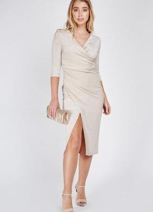 Эффектное миди платье с люрексом
