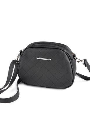 Черная маленькая сумка кроссбоди через плечо овальная стеганая