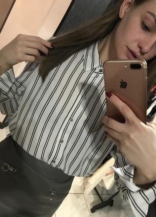 Блузка в полоску от h&m белая черная блуза