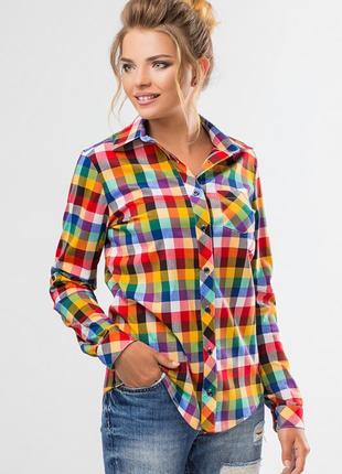 Рубашка женская в клетку трехцветная