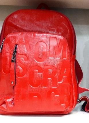 Брендовый рюкзак,с надписями ,натуральная кожа,цвета .
