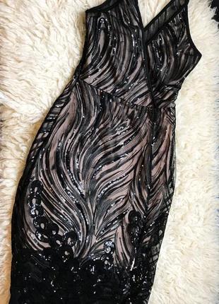 Платье пайетки с разрезом премиум класс