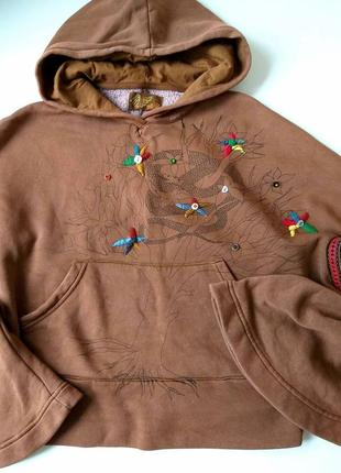 Стильный хлопковый свитшот-пончо с вышивкой. цвета шоколада