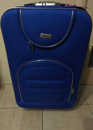 Дорожный чемодан на 5 колесах синий siker