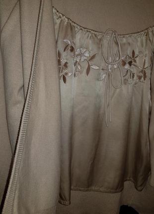 Элегантная аристократичная шелковая кофта кардиган
