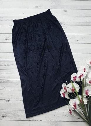 Бархатная юбка миди темно-синяя, велюровая юбка макси, юбка мраморного бархата