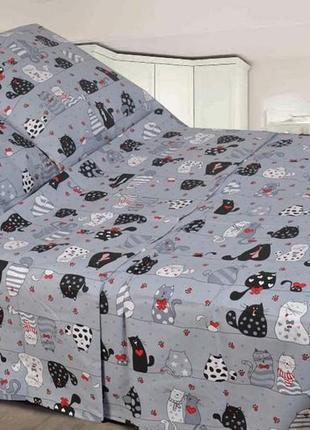 Стильное постельное белье мурчики котики, в наличии детский постельный комплект