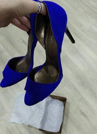 Замшевые открытые туфли электрик