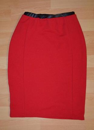 Фактурная юбка с вставкой из кожзама