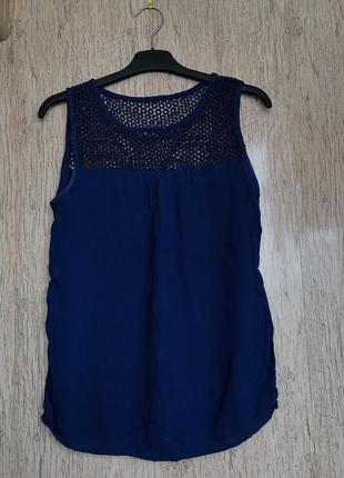 Синяя блуза, блузка синего цвета, майка в сеточку