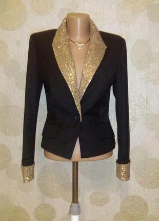 Шикарный шерстяной жакет пиджак  пайетки маленький  размер