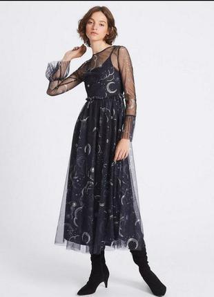Платье zara  ,с космическим принтом.