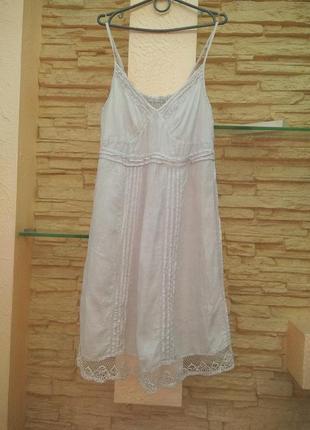Сарафан платье льняное лен хл-хххл кружево оборка на бретелях италия