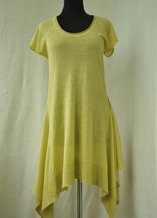 Льняное стильное платье выполненно тонкой машинной вязкой14р(см.мерки)