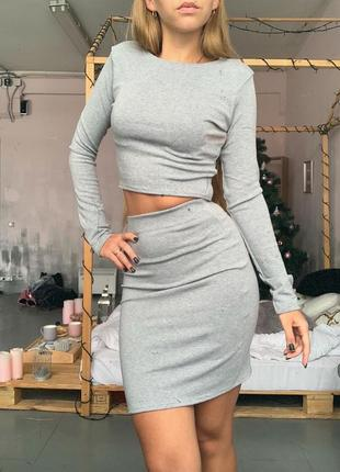 Шикарный новый серый комплект(юбка+топ) xs,s,m2