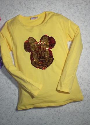 Хлопковый желтый реглан с пайетками, турция