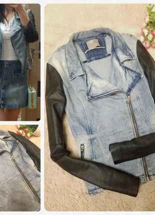 Джинсовая косуха guess куртка с потертостями размер xs-s