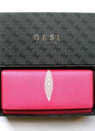 Большой кожаный кошелек скат pink, винил+ нат. кожа, есть дост. бесплатно