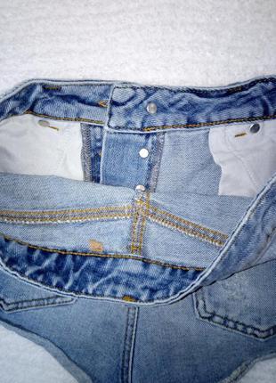 Джинсовые шорты с высокой посадкой плотный джинс7 фото