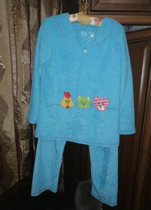 Отличная теплая флисовая пижама. домашний костюм