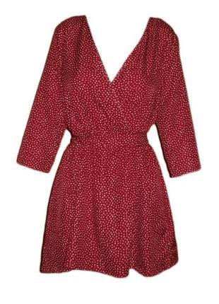Расклешенное платье в горох вырез на запах горошек размер 16 наш 50