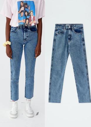Джинсы mom pull&bear 34-xs,синые джинсы момы pull&bear