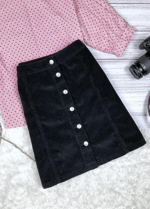 Крутая вильветовая юбка на пуговицах