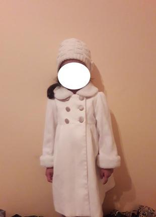 Нарядное пальто кашемир кремовое+шапка