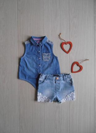 Набор джинсовая рубашка & джинсовые шорты