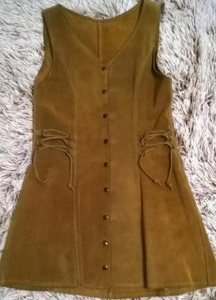 Замшевое платье сарафан из натуральной замши на кнопках
