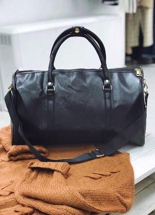 🔥эксклюзив! черная богатая сумка дорожная из эко кожи / дорожня сумка киев