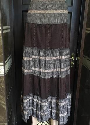 Ярусная шоколадная юбка 46-48 р3 фото