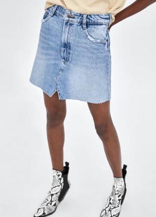 Джинсовая юбка zara оригинал рваная высокая талия с потертостями