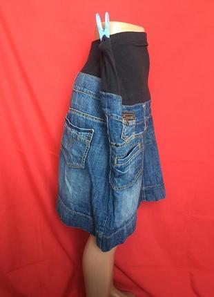 Джинсовая короткая юбка с стрейчевым животиком\для мам 54 р3