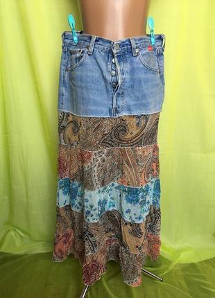 Модная ярусная джинсовая юбка levis 48 p