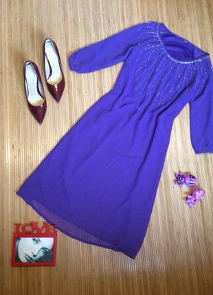 Нежно сиреневое платье с бисером,размер xxl