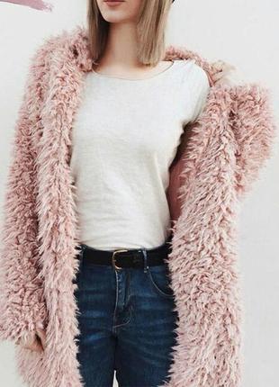 Пушистый пудрово-розовый кардиганчик йети от m&s