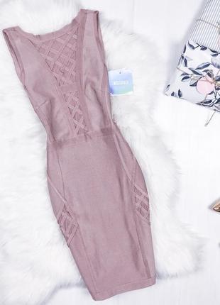Ідеальна бандажна сукня \ бандажное премиум платье лиловое пудровое missguided