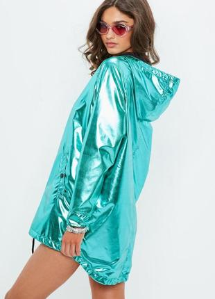 Плащ-дощовик неймовірного кольору \ плащ дождевик ветровка металлик missguided