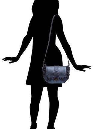 Женская сумка кросс-боди, на плечо, натуральная итальянская кожа, цвет синий перламутр