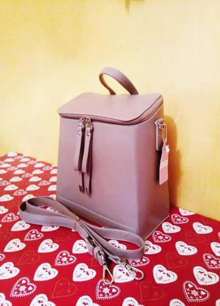 Трансформер сумка - рюкзак, итальянская кожа. цвет какао. модель весна 2019.5