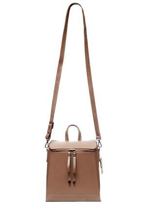 Трансформер сумка - рюкзак, итальянская кожа. цвет какао. модель весна 2019.3