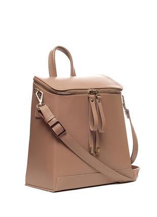 Трансформер сумка - рюкзак, итальянская кожа. цвет какао. модель весна 2019.