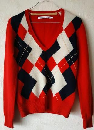 Фирменный шерстяной свитер на мыс tommy hilfiger/скидка!!!
